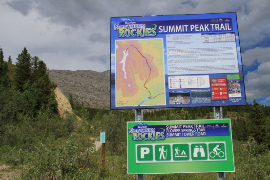 A collection of signs that display information about the Northern Rockies Summit Peak Trail.