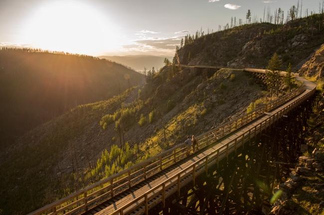 Sunset on one of the trestle bridges overlooking Myra Canyon on the Kettle Valley Railway, Kelowna, BC.