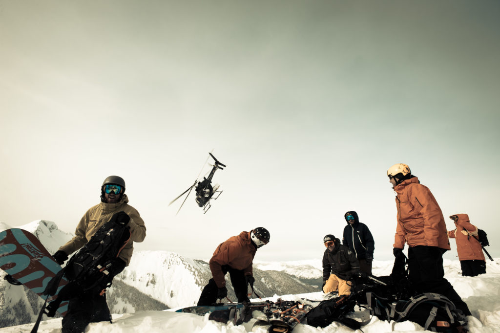 A large group enjoy a day of heli-skiing in British Columbia.