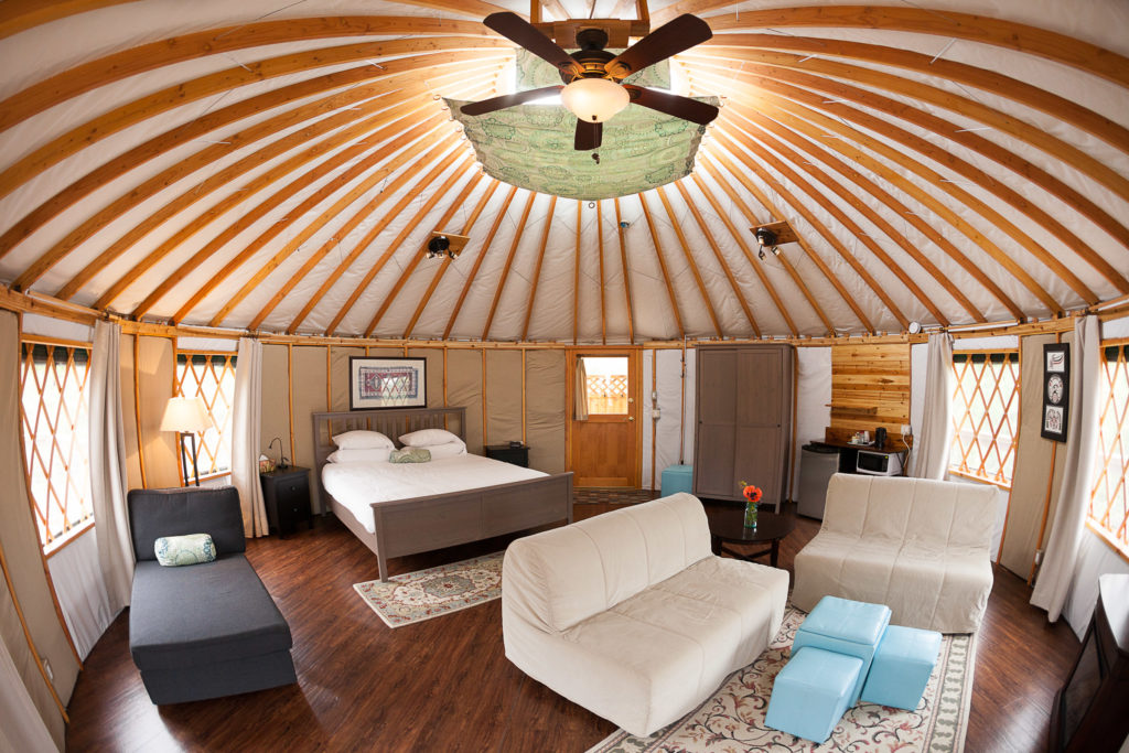 The interior of a yurt at Soule Creek Lodge.