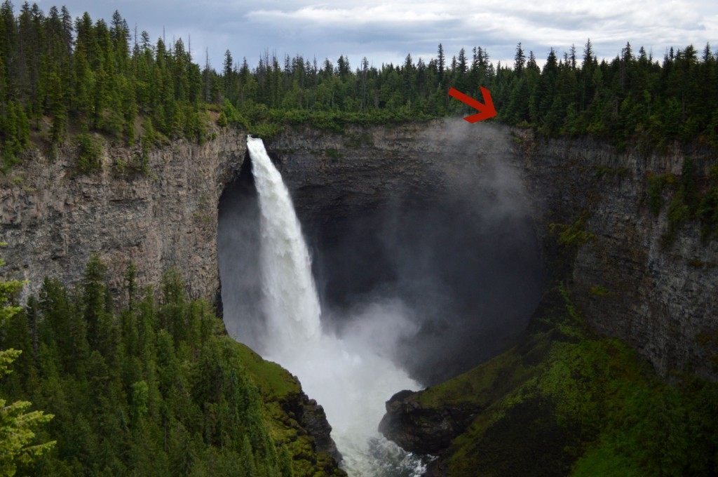 A stunning waterfall flows down a water carved canyon with a red arrow poiting to a group of trees on the right-hand side.