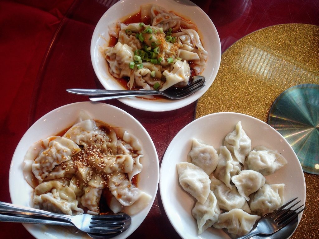 Three stunning dishes of water-boiled dumplings, prepared three different ways.