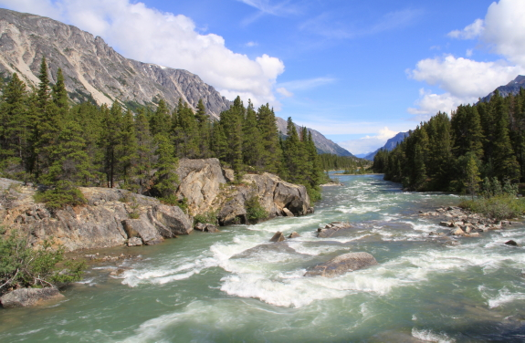 Churning waters of a Class 3+ rapids, lined by a rocky mountain range.