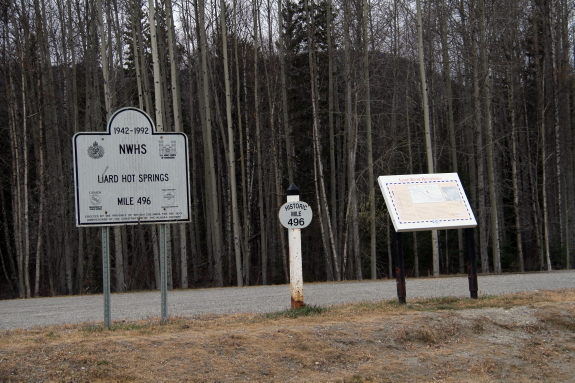 Interpretive signs on the side of a highway.