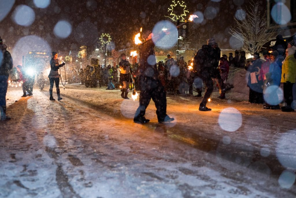 Revelers at the Rossland Winter Carnival.