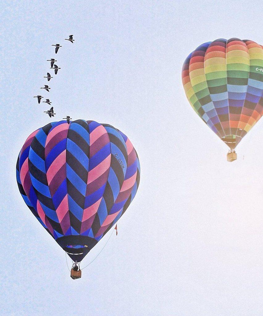Hot air balloons at the Vernon Winter Carnival.