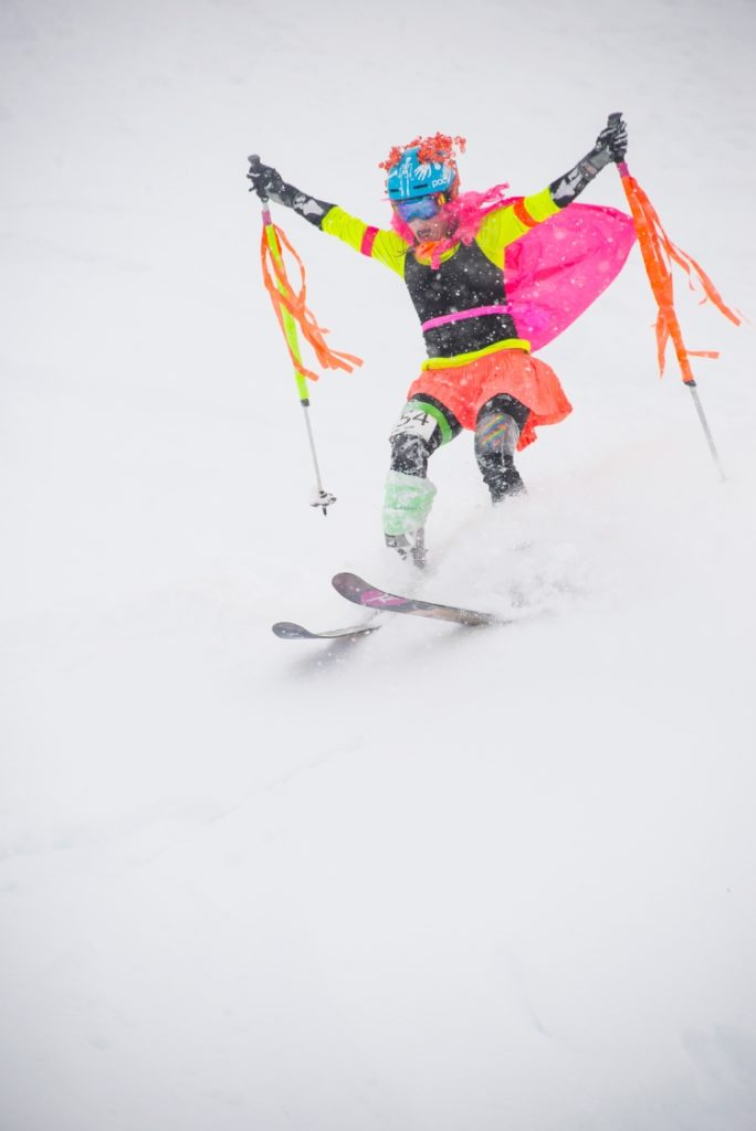A colourful descent during the Coldsmoke Powder Fest.