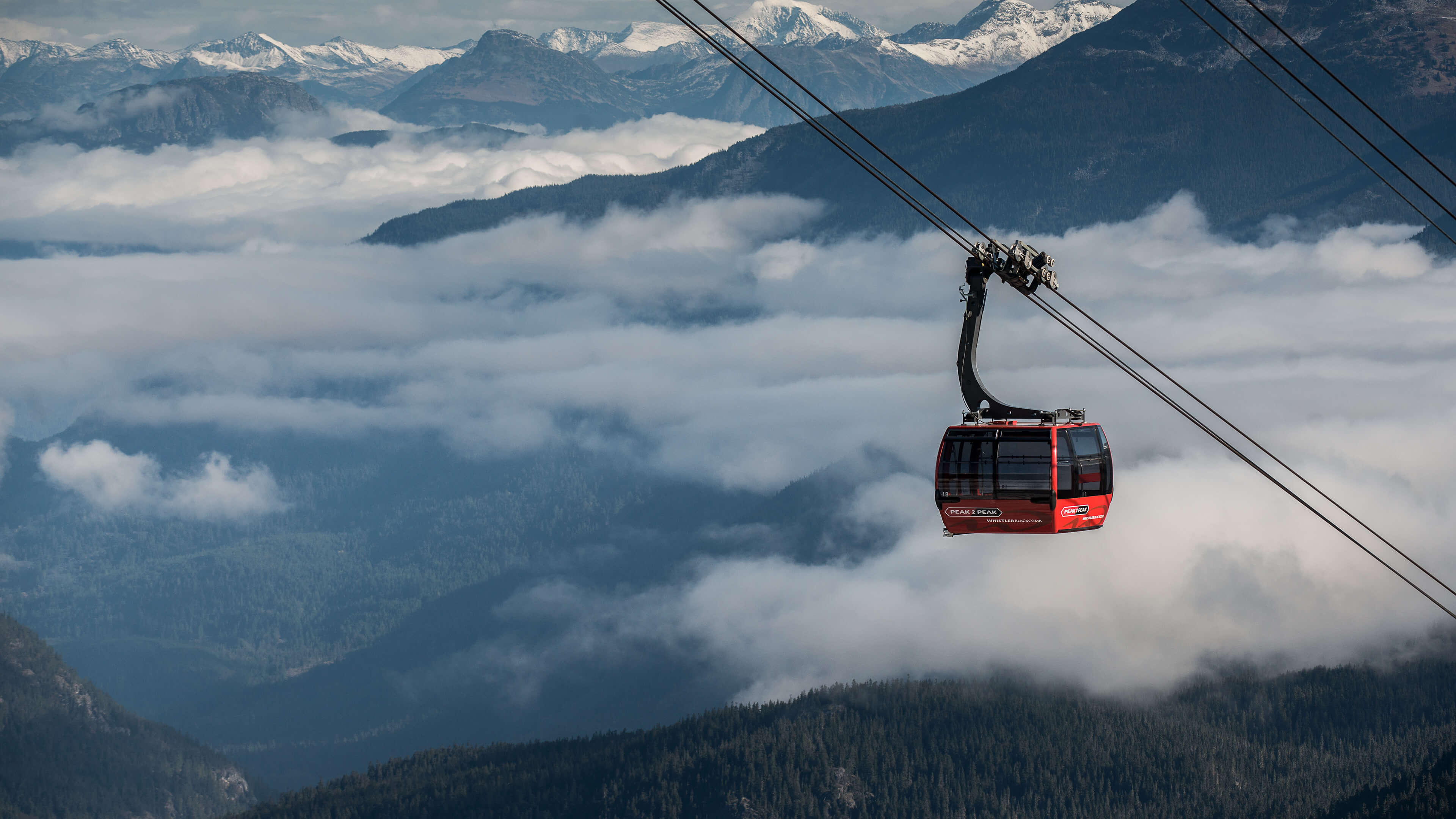 PEAK 2 PEAK Gondola traveling above Whistler, British Columbia