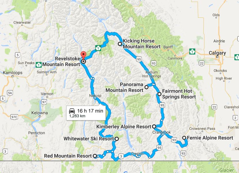 A map with a blue line indicating a circular route that takes you to past Revelstoke, Kicking Horse, Panorama, Fairmont Hot Springs, Kimberley Alpine, Fernie Alpine, Red Mountain, and Whitewater Ski Resort.