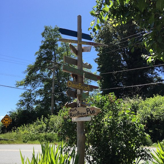 Jordan River, Vancouver Island signpost indicating nearby beaches.