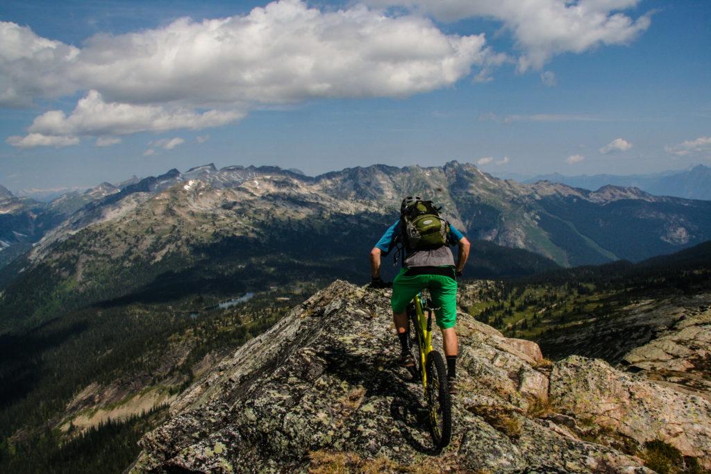 Mountain bike terrain near Blanket Glacier Chalet outside Revelstoke.