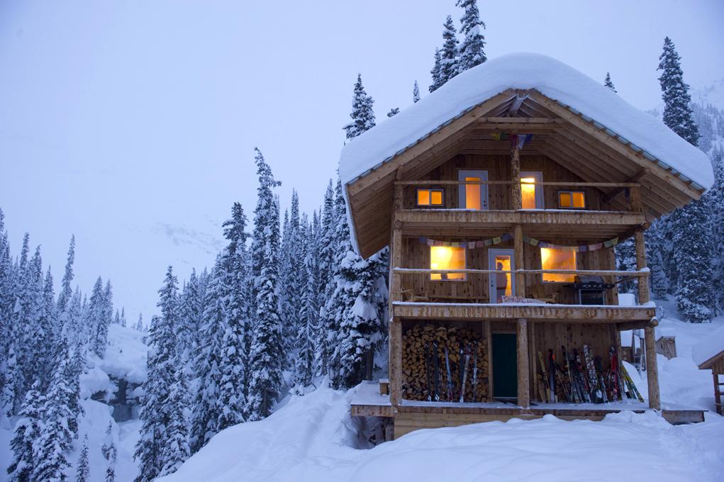 Dusk at Icefall Lodge in BC's Kootenay Rockies.