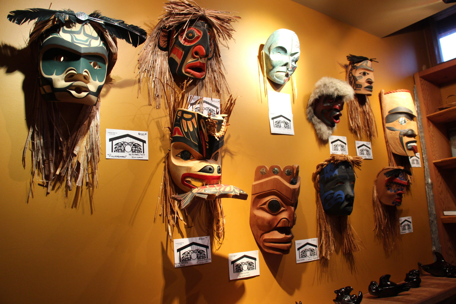 Traditional aboriginal masks at Cedar House Gallery in Ucluelet on Vancouver Island