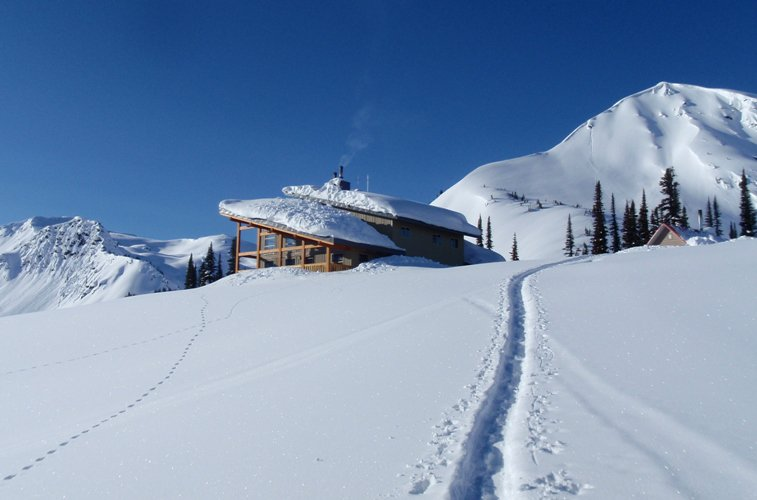 A snowy scene at Golden Alpine Holiday's Sentry Lodge near Golden. Photo: Golden Alpine Holidays