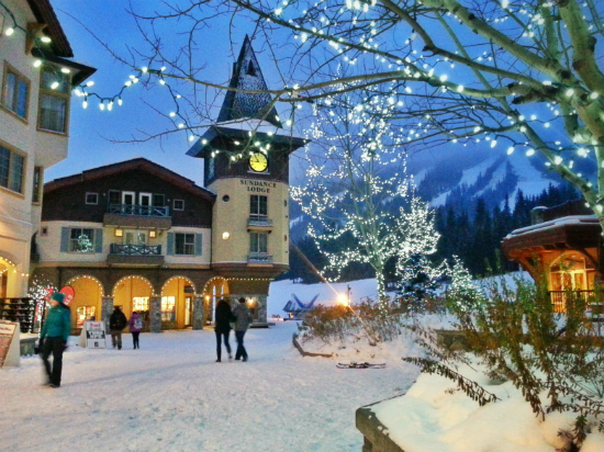 Village at Sun Peaks Resort in winter