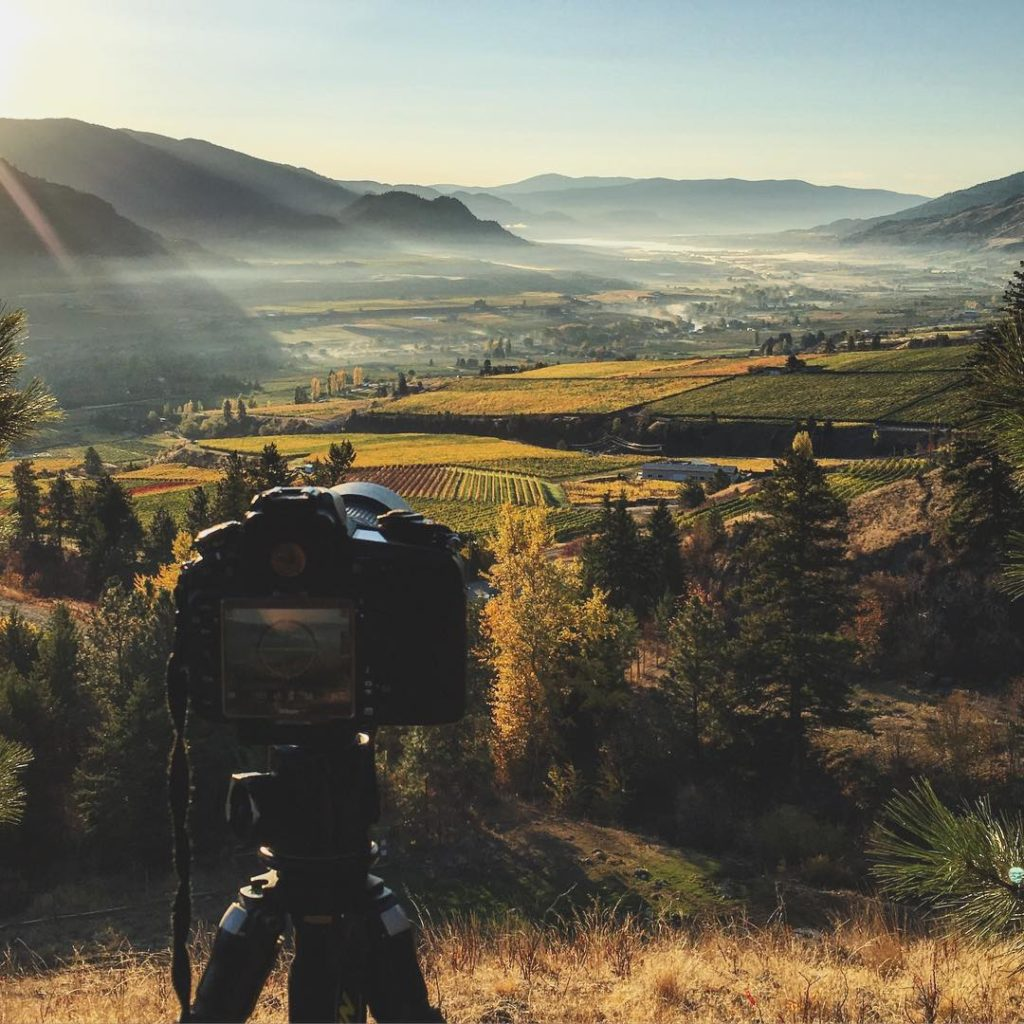 Sun rising over the Okanagan Valley as seen from Tinhorn Creek Vineyards in Oliver