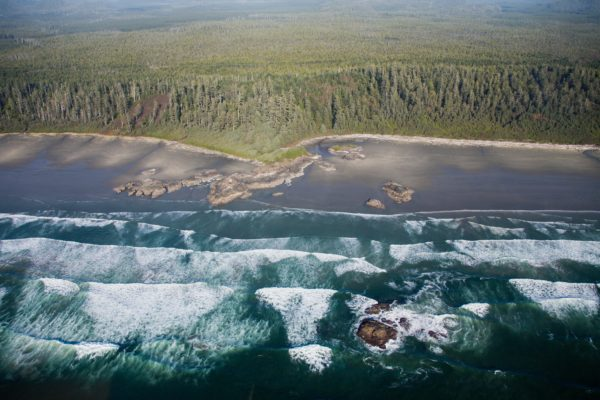 An aerial view of Long Beach in Tofino.