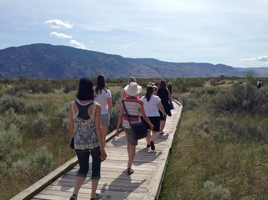 8 women walking across a wooden bridge in the desert at the Osoyoos Desert Centre.