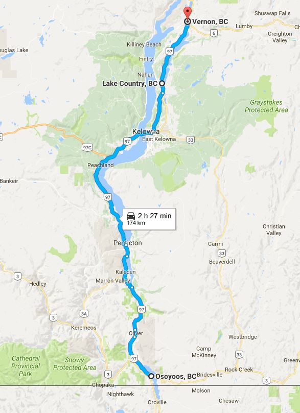Highway 97 map from Osoyoos to Vernon in the Okanagan, British Columbia.