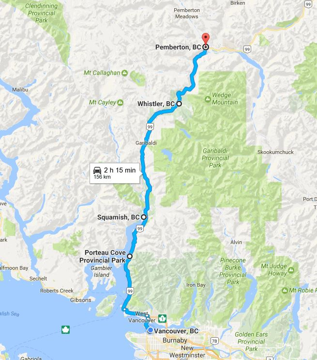Sea to Sky Highway Map Vancouver to Whistler
