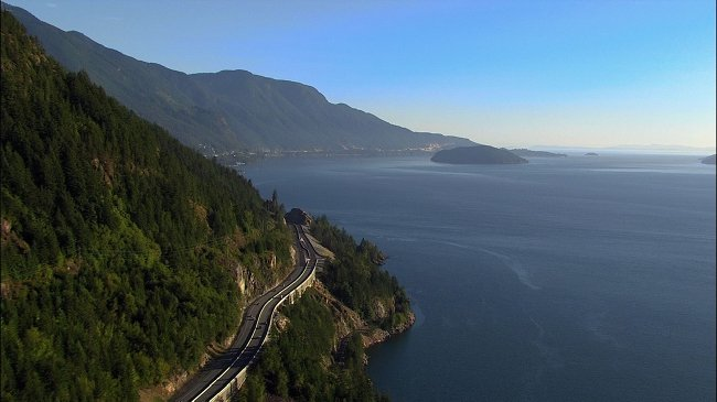 The Sea-to-Sky Highway hugs Howe Sound.
