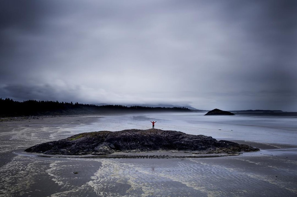 A person stands on a large rock in the middle of a rugged beach landscape.