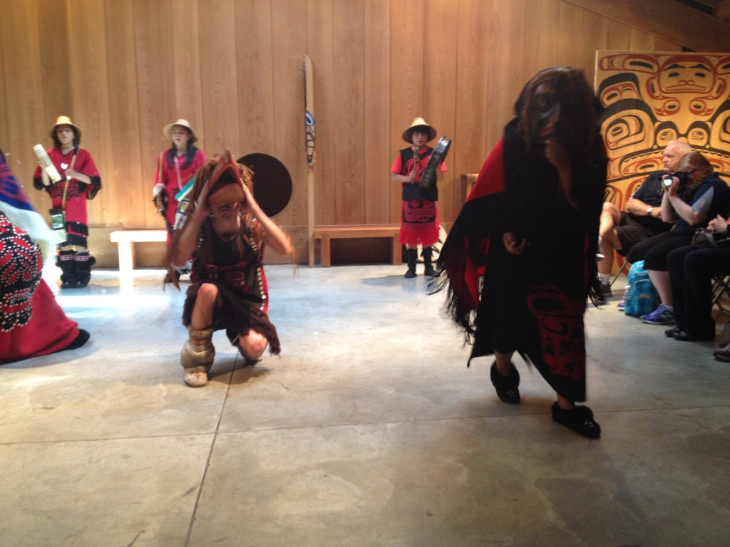 Watching the Gwiis'amiilgigohl dancers at the Museum of Northern British Columbia in Prince Rupert. Photo: Wendy Dyson