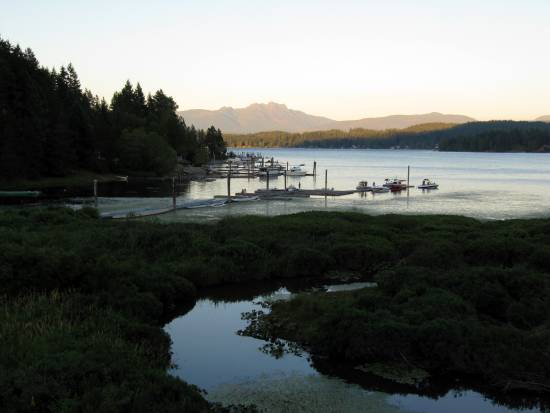 Patio view from Sproat Lake Landing on Vancouver Island.