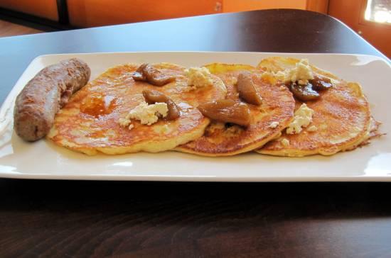 Lemon ricotta pancakes at Drinkwater's Social House at Sproat Lake Landing on Vancouver Island.