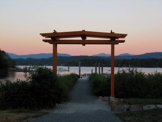 The walkway down to the wharf at Sproat Lake Landing on Vancouver Island.