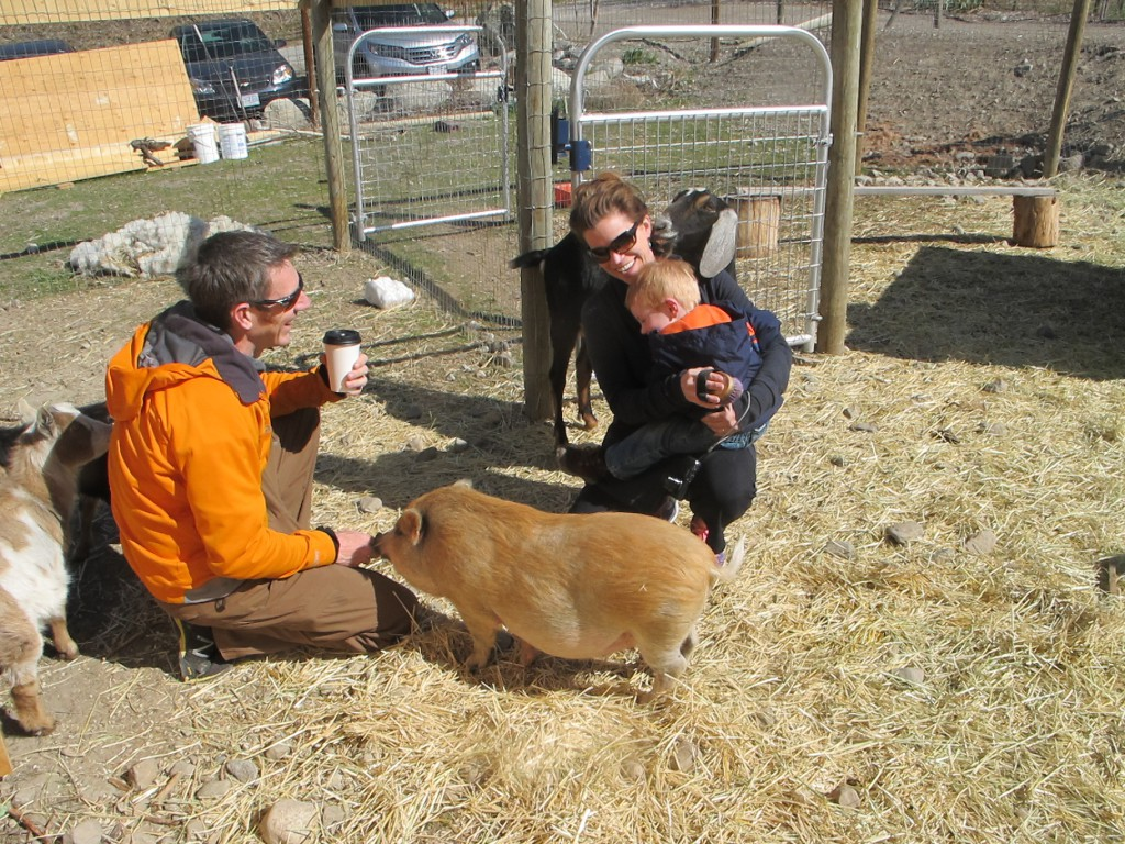 Family enjoying Andy's Animal Acres in Penticton