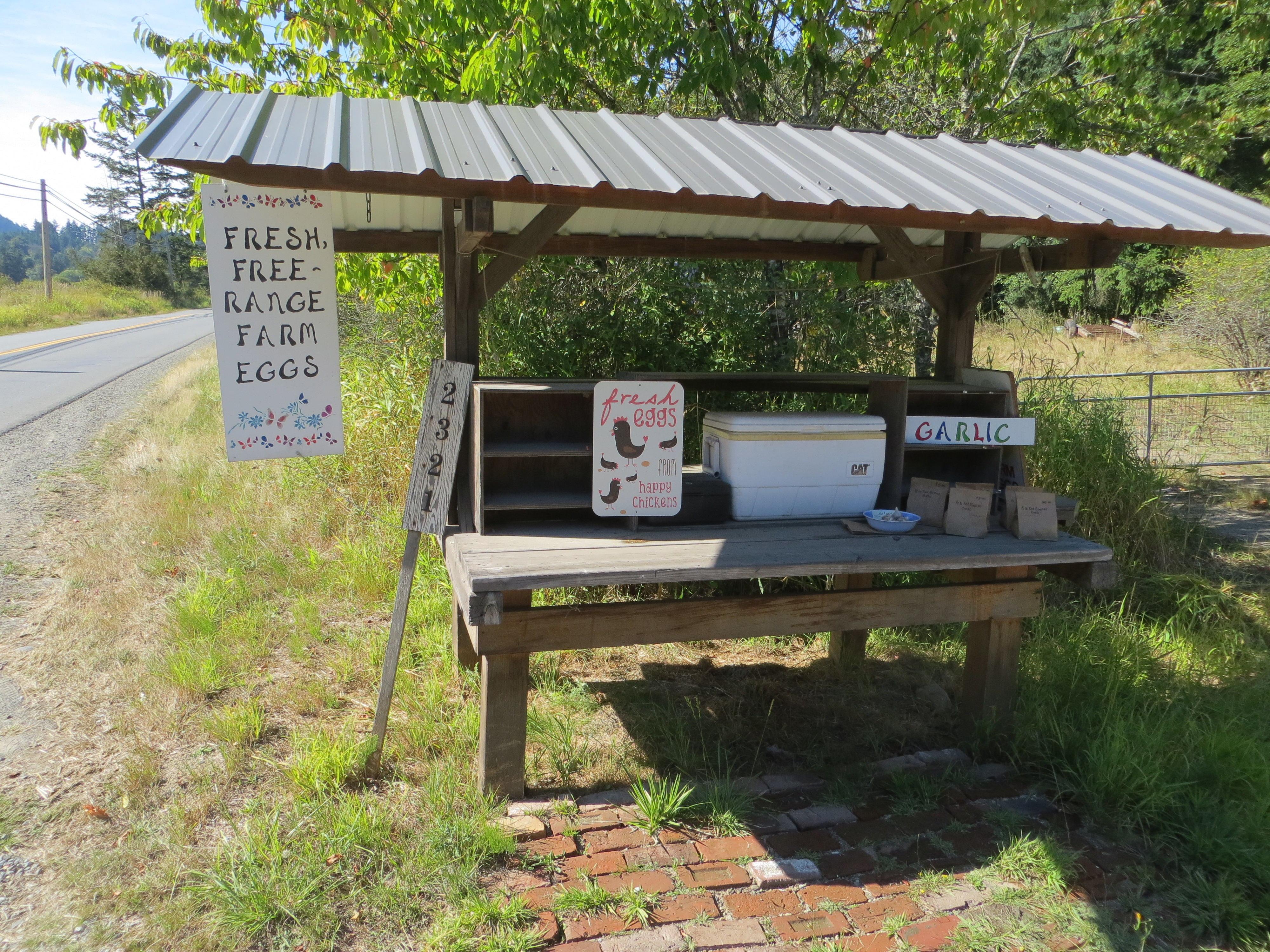 Fresh free-range farm eggs and garlic for sale at a self-serve farm stand on Salt Spring Island.