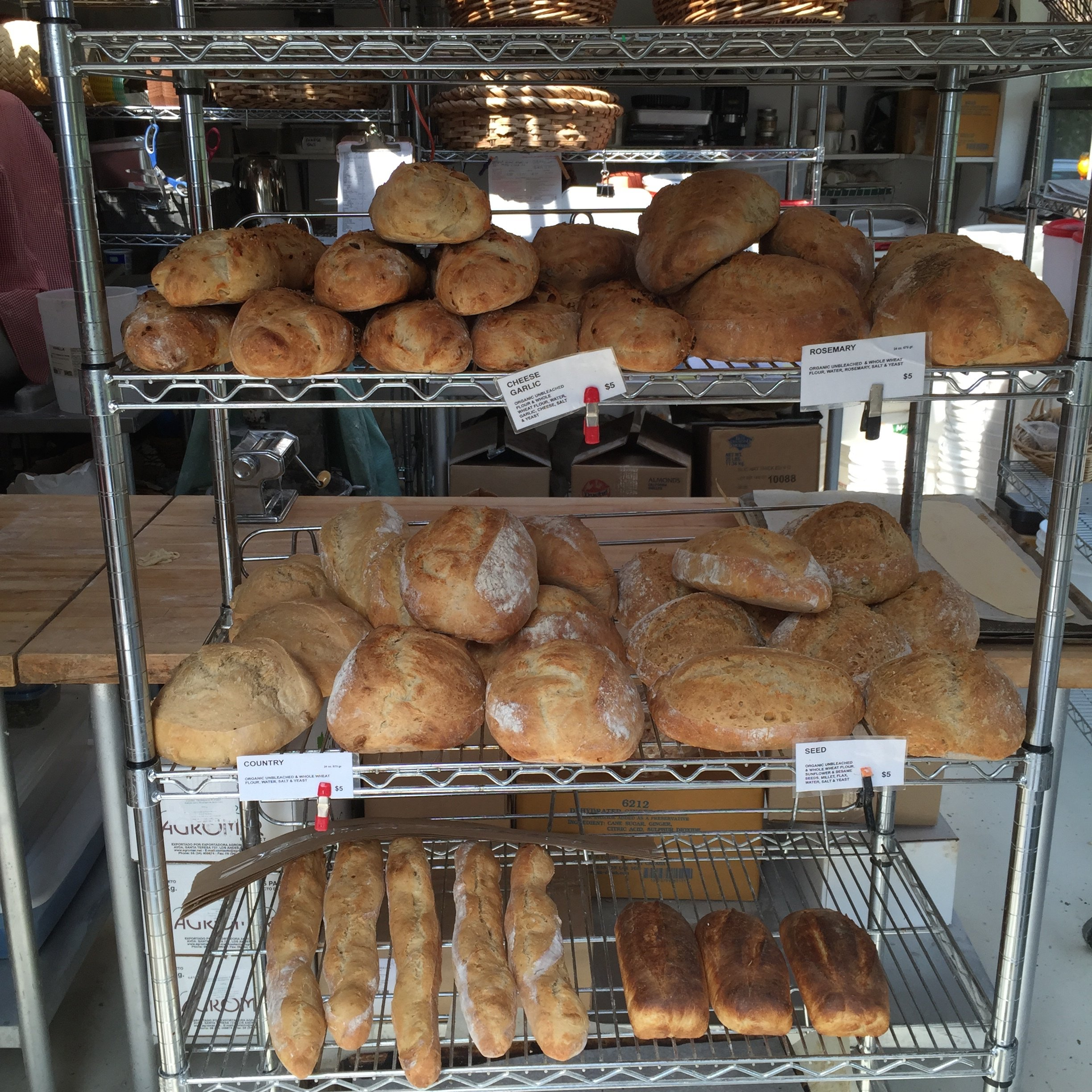 Freshly baked bread at the Salt Spring Island Bread Co. on Salt Spring Island.