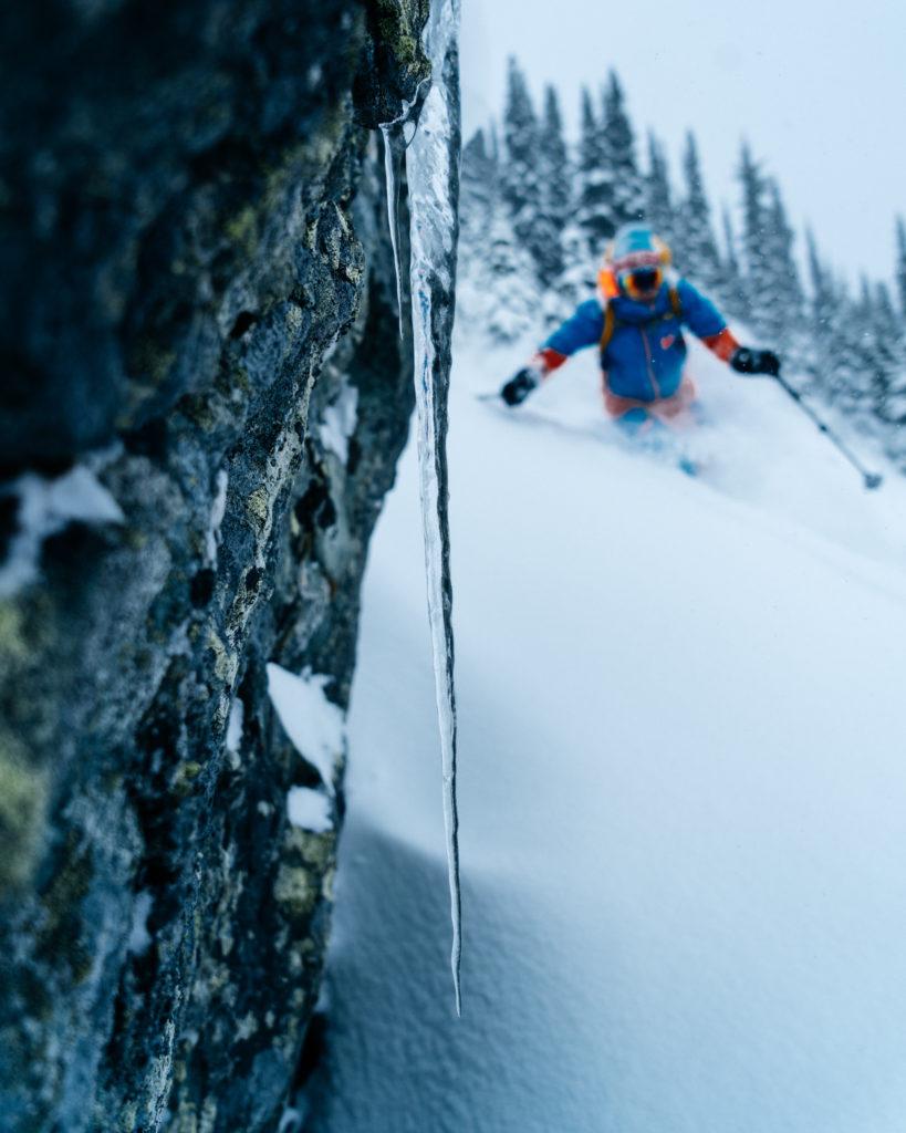 Skiing through powder, Whistler.