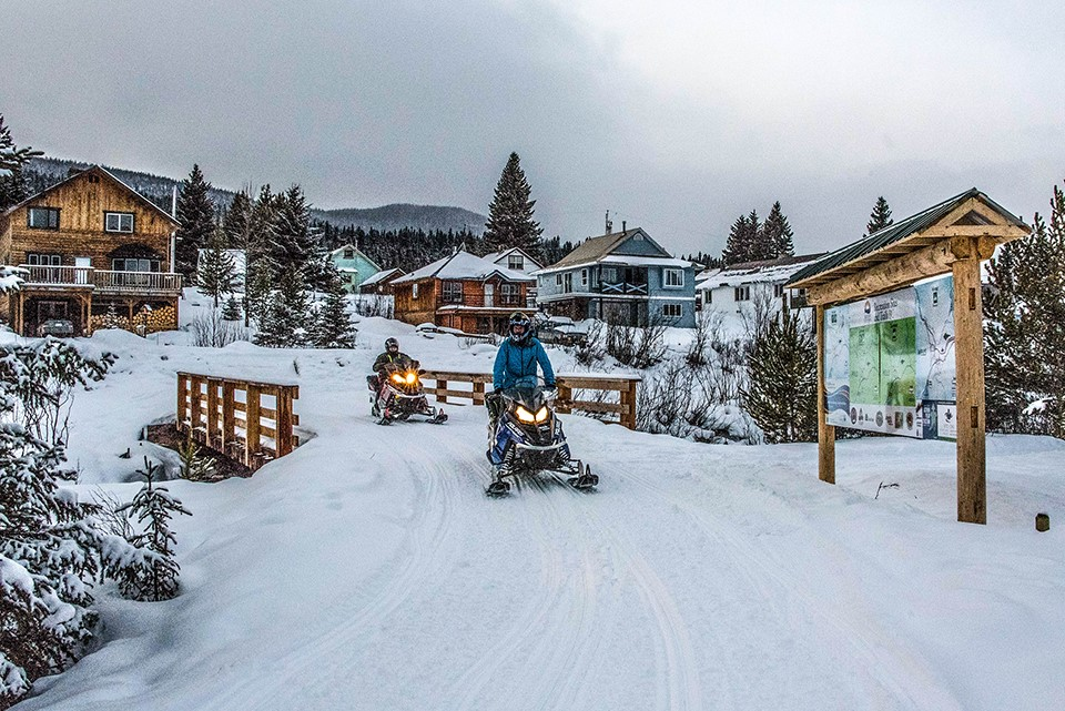 Snowmobiling in Wells, BC