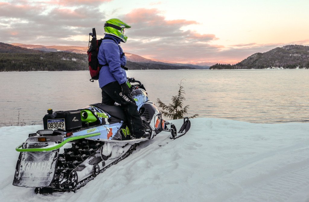 Sunset on a sled at Quesnel Lake near Likely