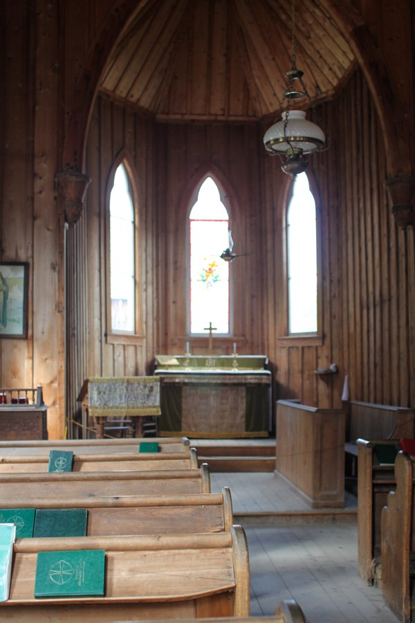 Interior of a church in Barkerville
