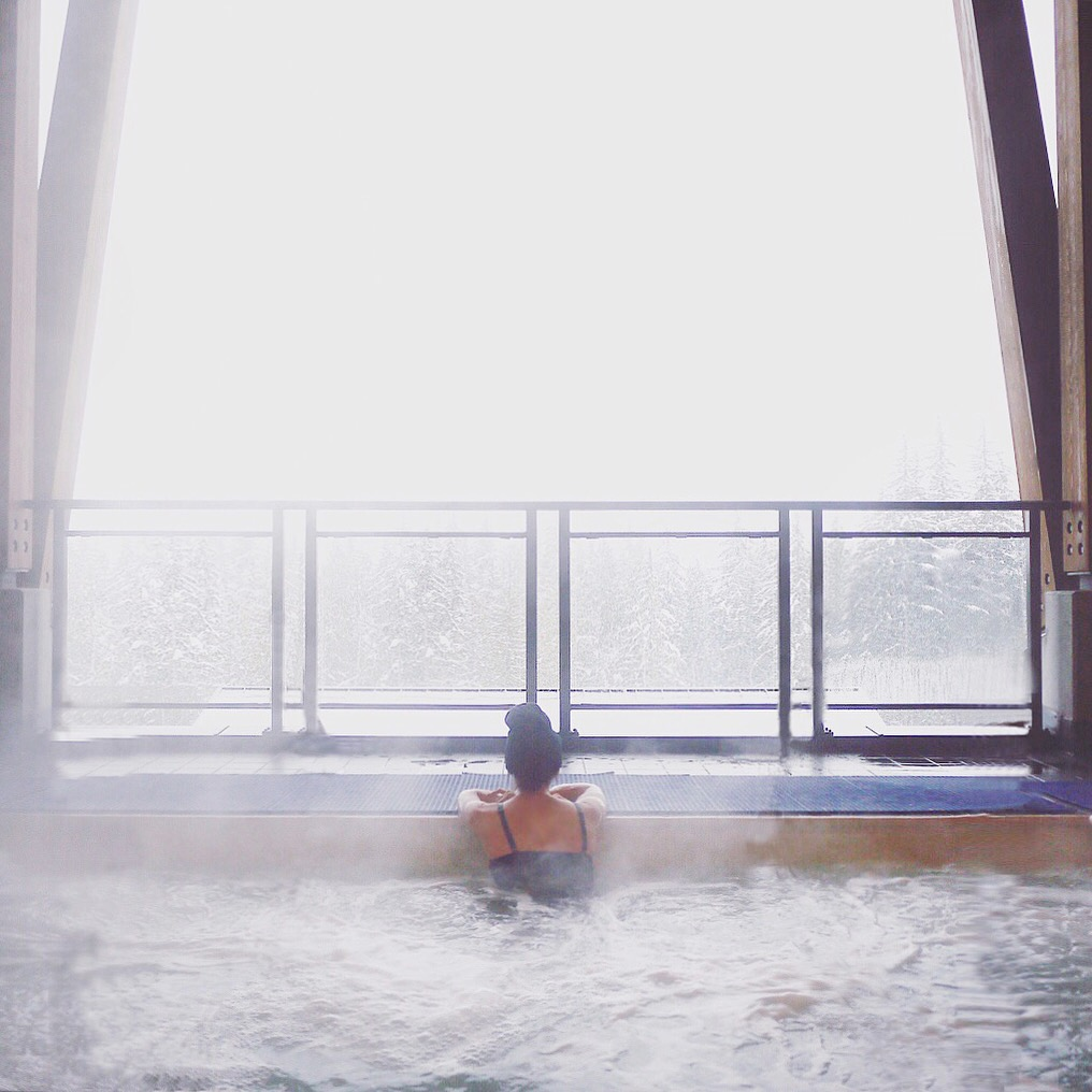Soaking in the hot tub at Sutton Place Hotel in Revelstoke. Photo: @erinireland