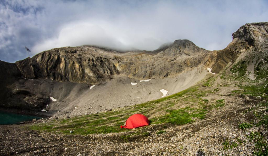 Camping near Bootski Lake in the Tumbler Ridge Geopark.