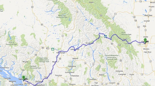 A map with a purple line indicating the driving route from Calgary to Vancouver.