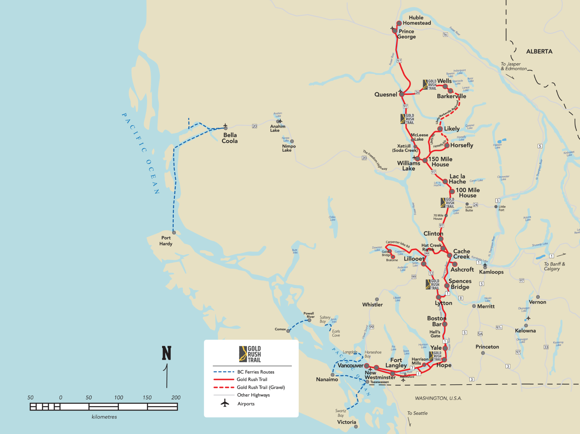 A map with a red line indicating the BC Gold Rush Route.