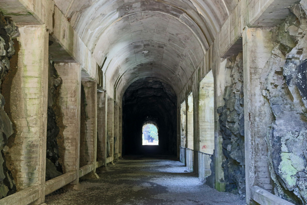 An old, white stone tunnel.