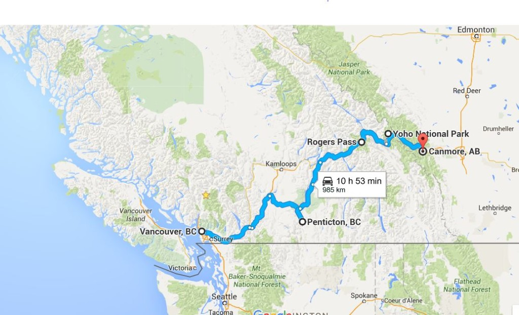 An illustrated map with a blue line indicating the route between Vancouver BC and Canmore, AB.