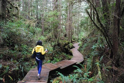 Woman walking along the Boardwalk to Hot Springs Cove in Tofino, BC.