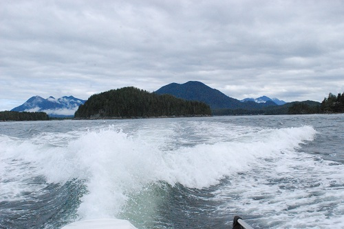 Wake of a boat in Clayoquot Sound near Tofino, BC