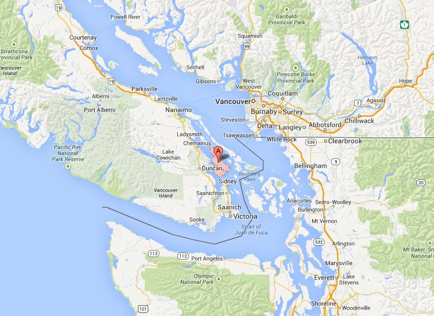 Location of Salt Spring Island. Click here for full Google Map
