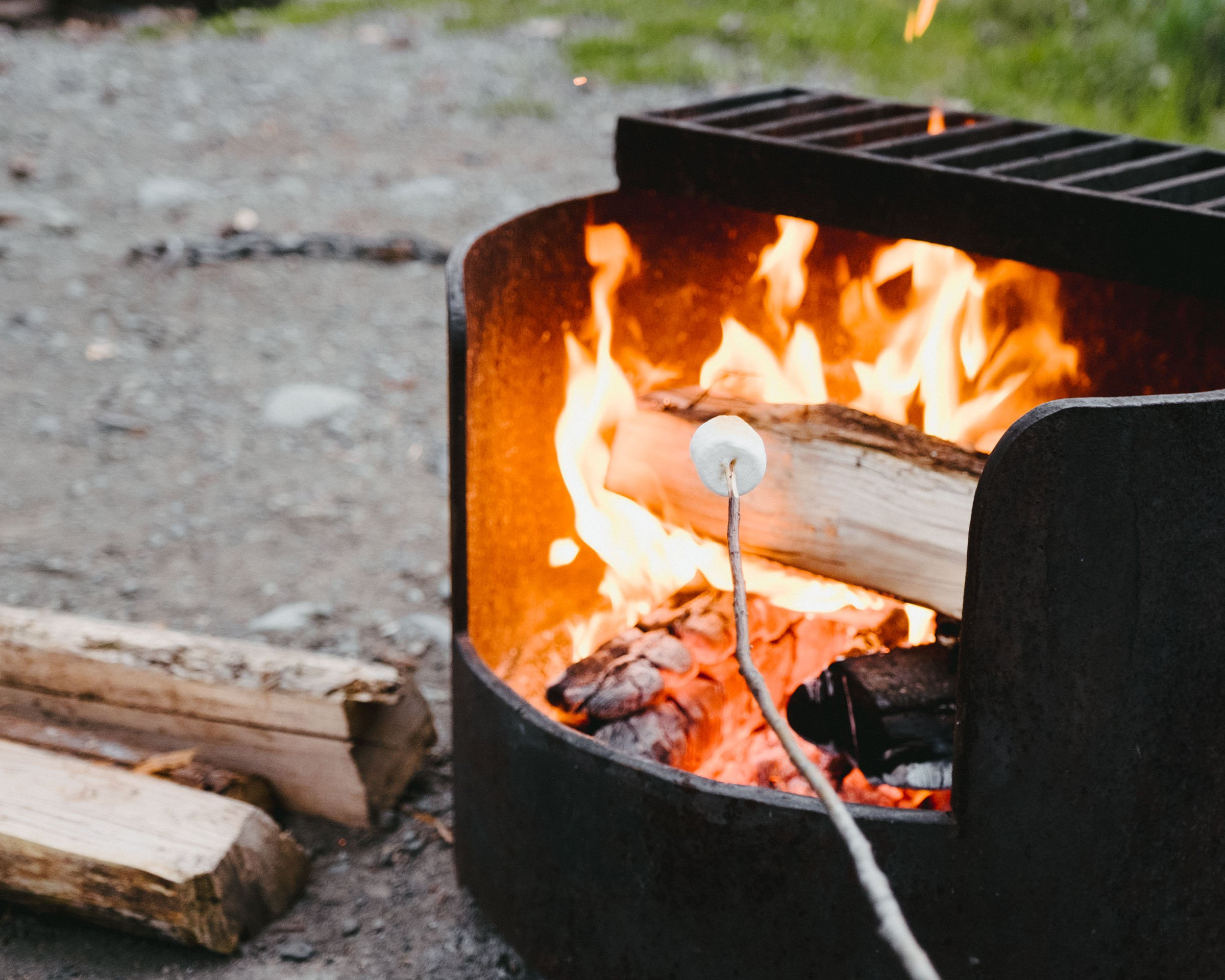 Roasting marshmallows at Ross Lake in Skagit Valley Provincial Park