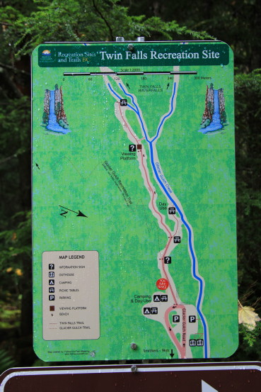 Map of Twin Falls Recreation Site, Smithers, BC