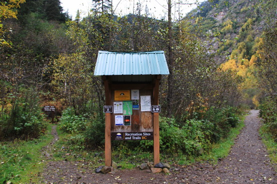 Information sign and trails at Twin Falls Recreation Site, Smithers, BC