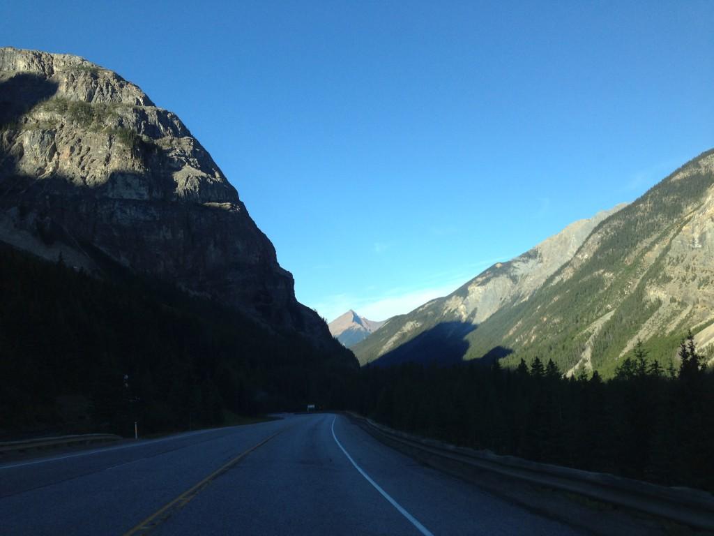 Driving through Yoho National Park in British Columbia